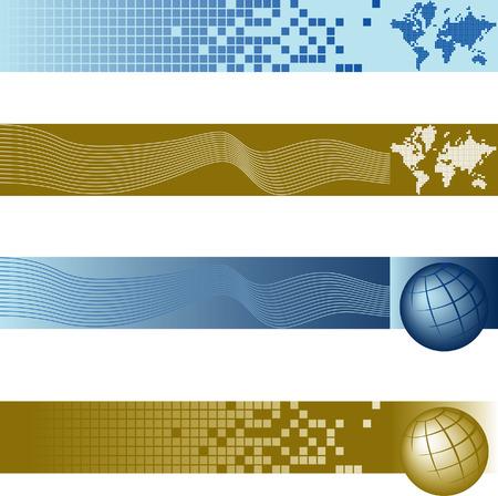Website banner backgrounds. Four vector corporate technology site website banner backgrounds Vectores