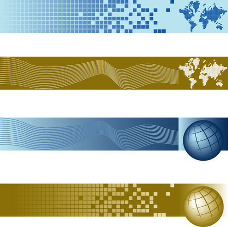 Website banner backgrounds. Four vector corporate technology site website banner backgrounds Vettoriali