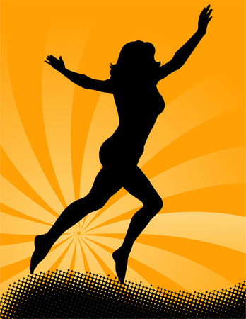 A vector illustration of woman's silhouette jumping in the air against a star-burst background