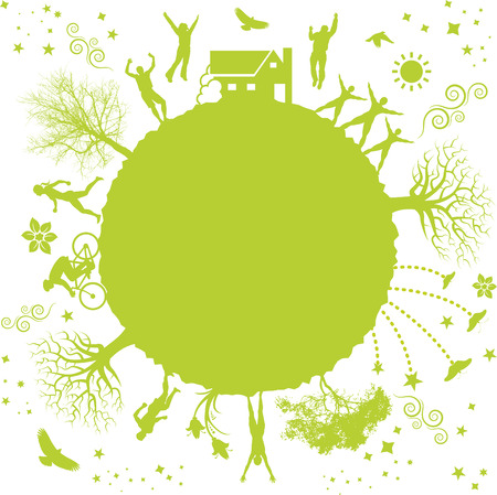 A funky vector illustration of a green planet