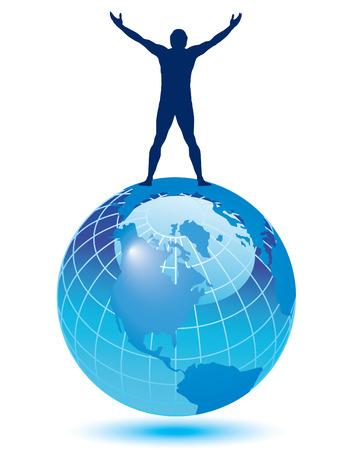 Atlas: Eine fr�hliche Menschen auf der Welt Illustration