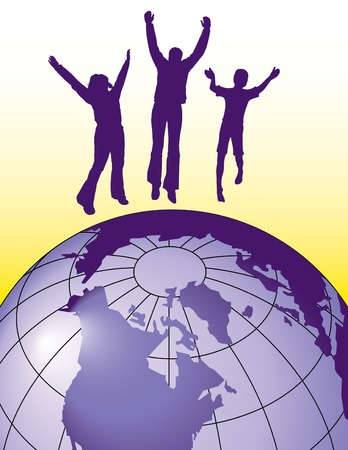 Vector background of people jumping for joy on top of the world Vector