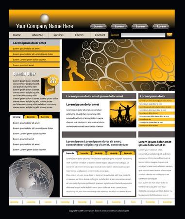 興味深い映像と編集可能なベクトルのウェブサイトのテンプレート  イラスト・ベクター素材