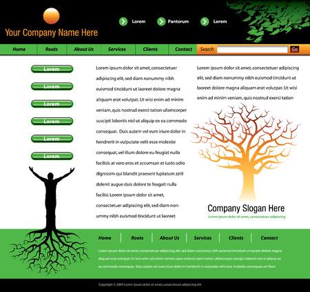 boom wortels: Deze website vector-sjabloon is een man met structuur wortels