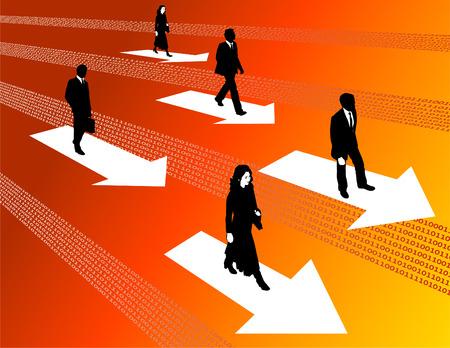 dsl: Business men and business women surf the internet