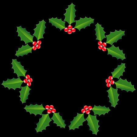 A circle of holly forming a star Vettoriali