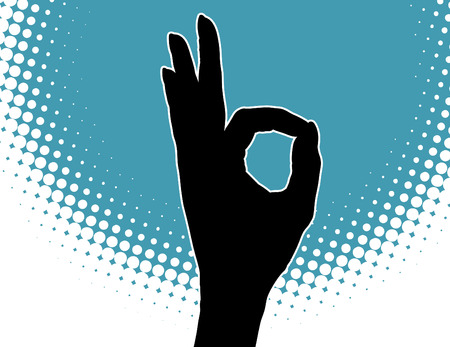 A hand gives the ok sign against a blue background Stock Vector - 4666694