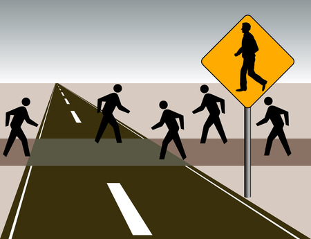 These iconic pedestrians appear in contrast to the man on the sign
