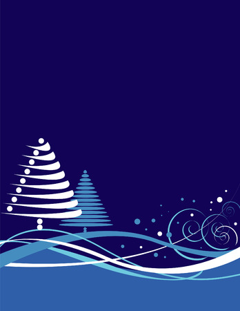 An abstract wavy Christmas background with Christmas trees and stars Vector