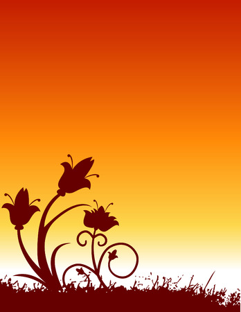 illustration of a floral background with a orange sunrise or sunset