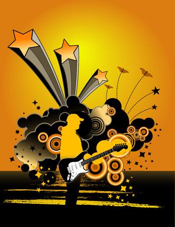 logo rock: musique grunge guitar man Illustration