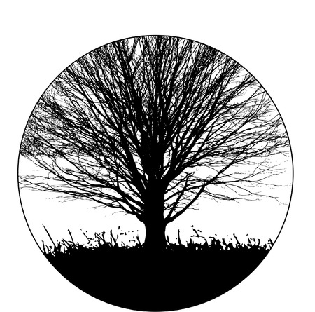 A black and white circle with tree, sky and grass