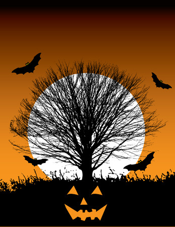 illustration of a halloween background which includes a large tree in front of a full moon, with four bats flying around. Vector