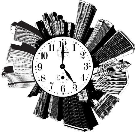 Een circulaire stad met een klok op het