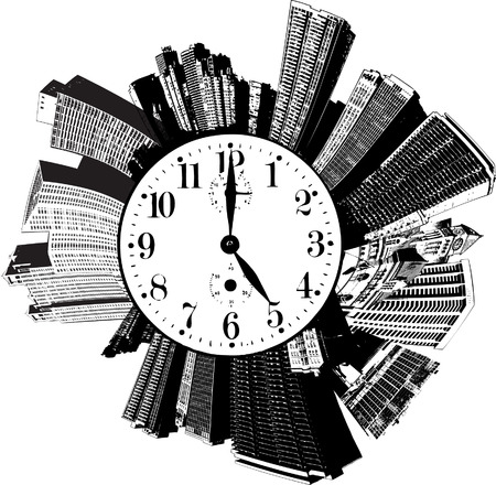 A circular city with a clock on it