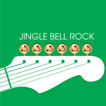 Graphic of bells on guitar to illustrate Jingle Bell Rock. Space for text. Could be used for greeting card.