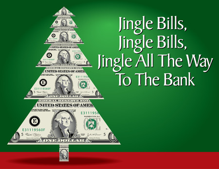 Abstract Christmas tree with dollar bills instead of branches. Vector