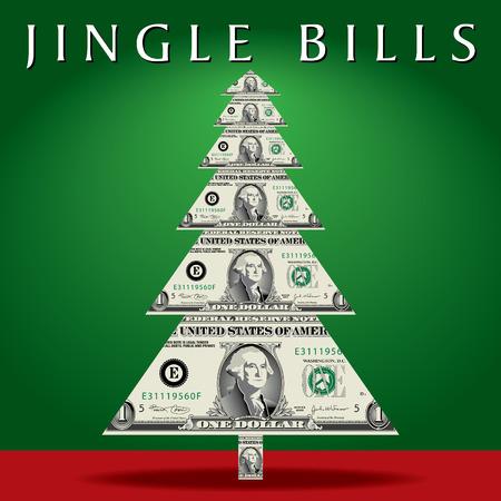 dollar bills: Abstract albero di Natale con banconote da un dollaro, invece di rami.