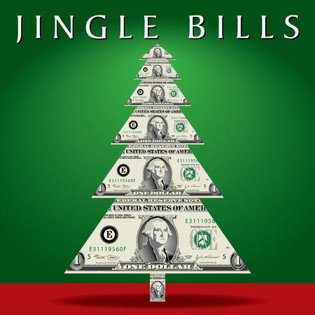 Abstract Christmas tree with dollar bills instead of branches. Illustration