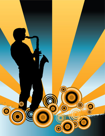 tenor: A sax player silhouette with music cascade plus grunge Illustration