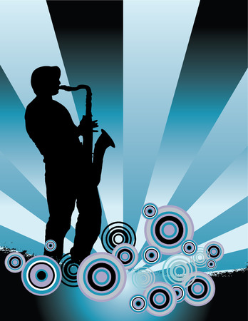 mellow: A sax player silhouette with music cascade plus grunge Illustration