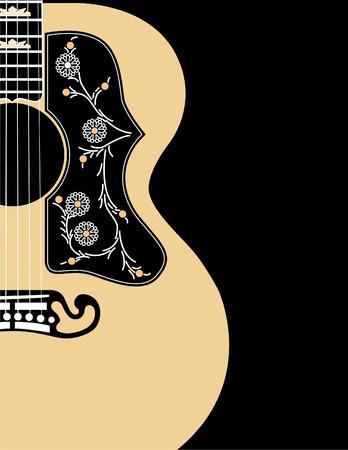 gran angular: Un fondo musical de vectores utilizando una guitarra ac�stica