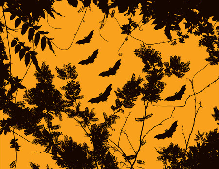 A halloween floral background with bats in the sky