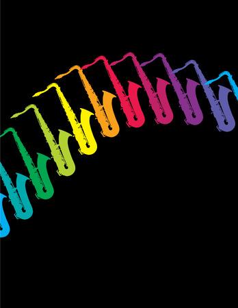 Een muzikale achtergrond van saxofoons in een regenboog