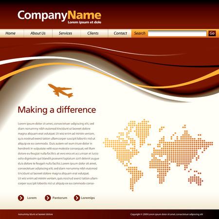 Bewerkbare vector website sjabloon met een jet en kaart Stock Illustratie