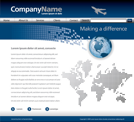 Editable vector website template with a jet, globe and map