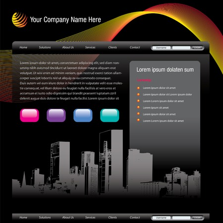Editable vector website template with cityscape