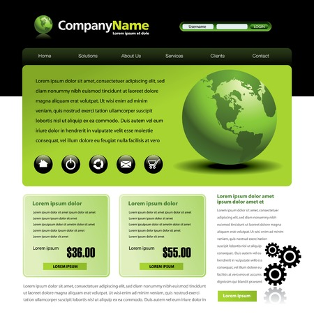 web template: Vector web site design template with globe and gears