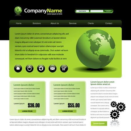 Vector website ontwerp sjabloon met een wereldbol en vistuigen