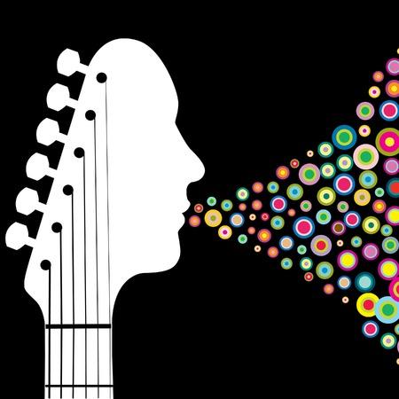 Guitar testa con cerchi l'uomo e lo spazio per il testo Archivio Fotografico - 4687767