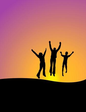텍스트에 대 한 공간을 가진 기쁨을 위해 점프하는 3 명의 행복 한 사람들의 벡터 배경 일러스트