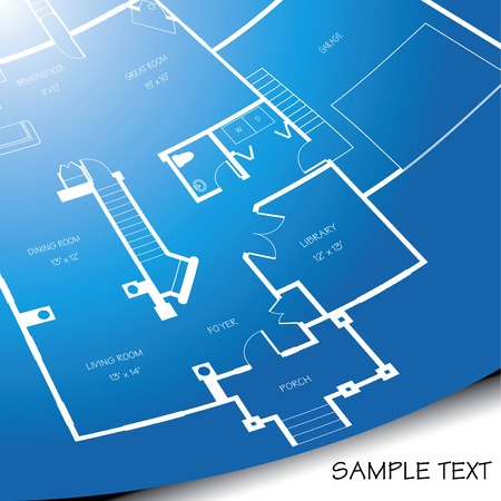 Vector background of an architectural blueprint unrolling