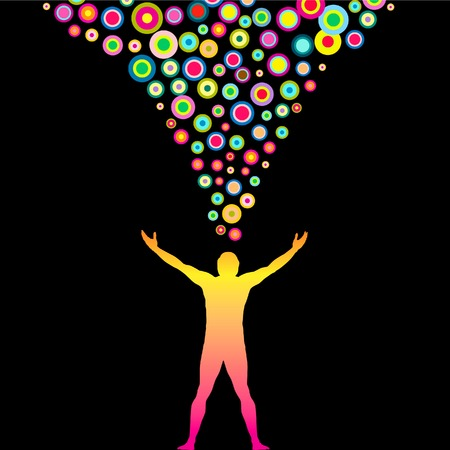 think positive: Vector Man with outstretched arms and Colorful thoughts