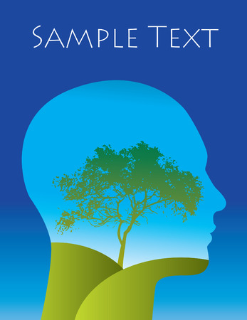 Vector Man with a tree landscape within his silhouette Stock Illustratie