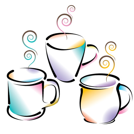 Vector artwork of 3 colorful coffee cups Vector