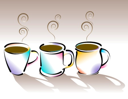 A vector illustration of Three stylized coffee cups