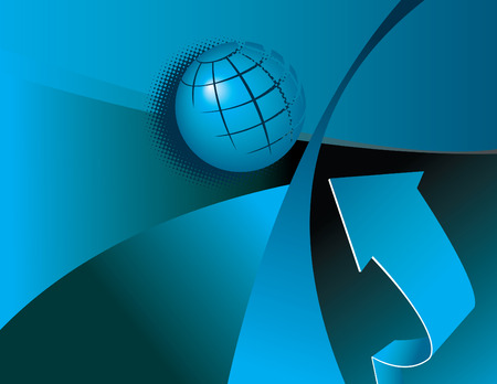 oceania: An abstract background with a globe and an arrow Illustration
