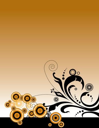 An interesting floral grunge background in orange, brown and black Illusztráció