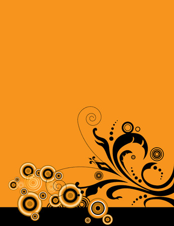 Abstract floral design against an orange background. Room for copy. Ilustração
