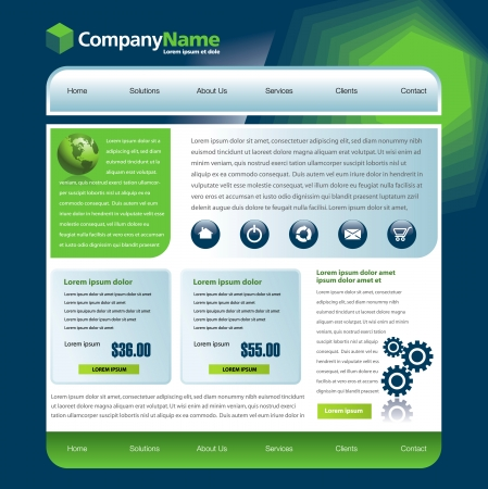 Vector web site design template with globe and gears Vector