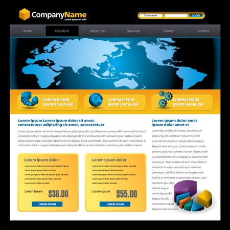 web site design: Business vector web site design template with a pie chart