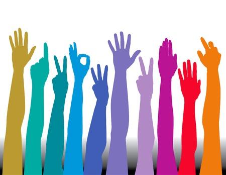 Hands of all races vector background Stock Illustratie