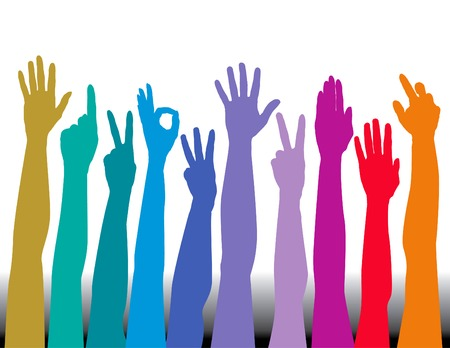 Hands of all races vector background Vettoriali
