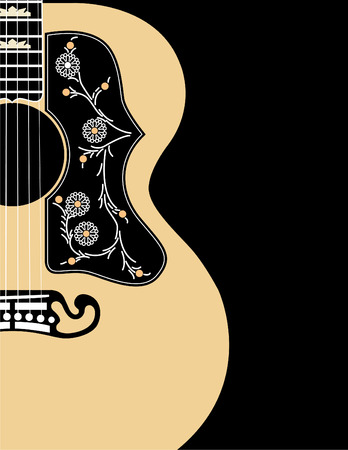 oldies: A vector musical background using an acoustic guitar