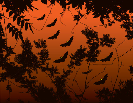 filthy: A halloween floral background with bats in the sky