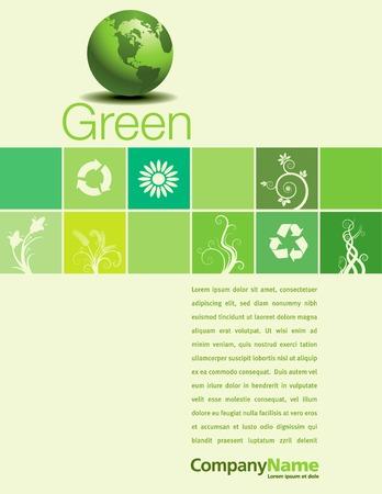 Een vector met een groene thema aan de achtergrond pagina ontwerp Stock Illustratie